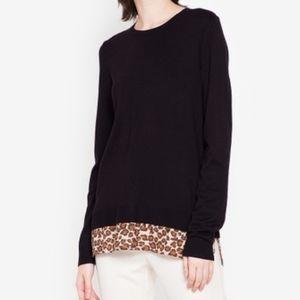 Adrianna Papell Black Leopard Knit Fooler Sweater